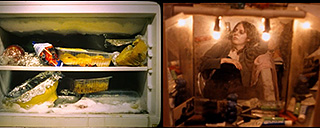 Split screen of food in a freezer and a woman in a crowded apartment