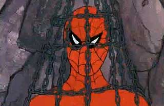 Spider-Man tied up in a cage