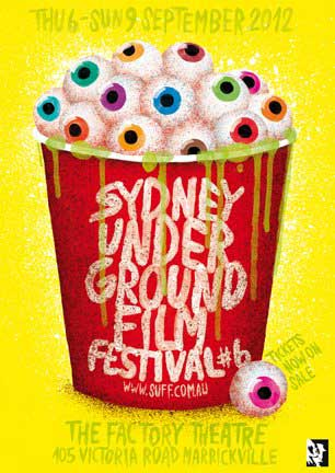 Film Festival poster featuring a bucket filled with buttery eyeballs