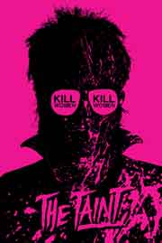Purple movie poster featuring silhouette of a man wearing sunglasses