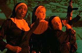 Three nuns wielding weapons