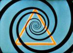Film still from Mary Ellen Bute's Escape featuring a triangle amid a spiral background