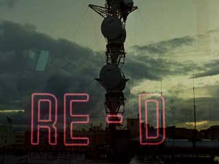 Film still from Water and Power by Pat O'Neill featuring a radio tower