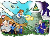 Illustration of Jesus in a space ship fighting aliens and George W. Bush