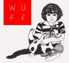 Red box logo for Winnipeg Underground Film Festival plus drawing of boy and his cat