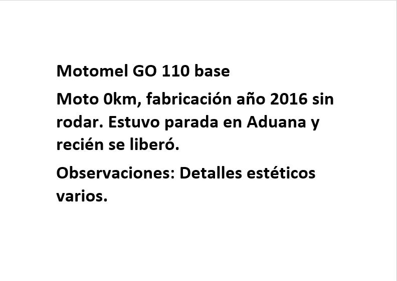 Moto Motomel GO 110 linea 2016