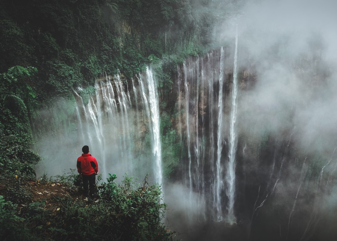 Tree Quote Wallpaper Mac Man Standing On Cliff Facing Waterfall Photo Free Tree