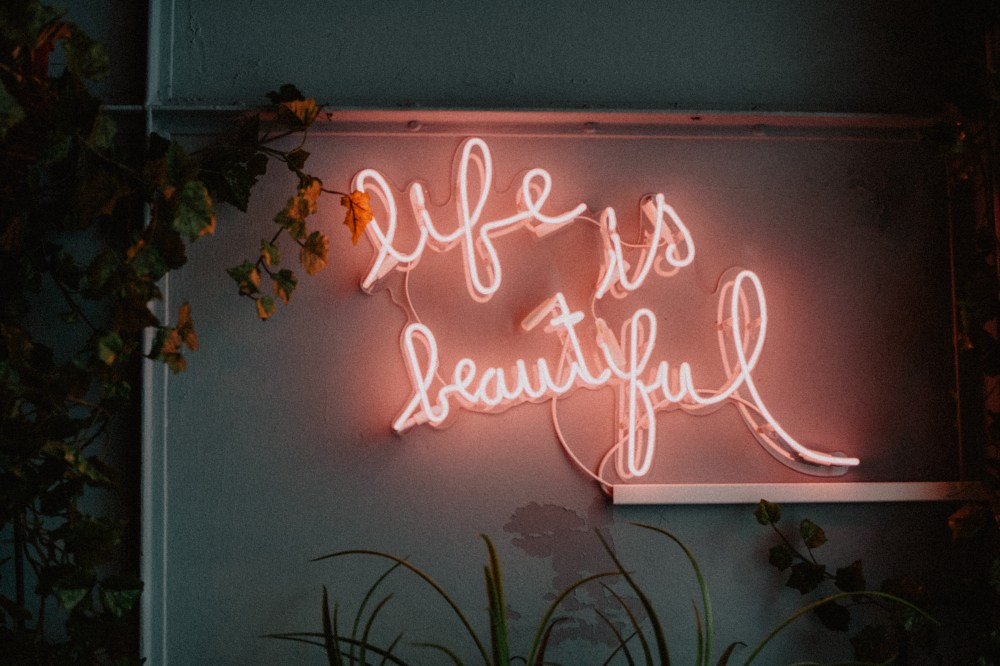 Fall Desktop Wallpaper With Crush Quotes Life Is Beautiful Led Signage Photo Free Neon Image On