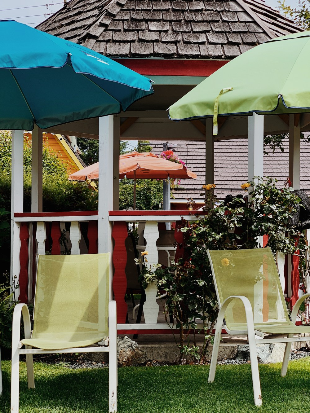 two green and blue patio umbrella photo