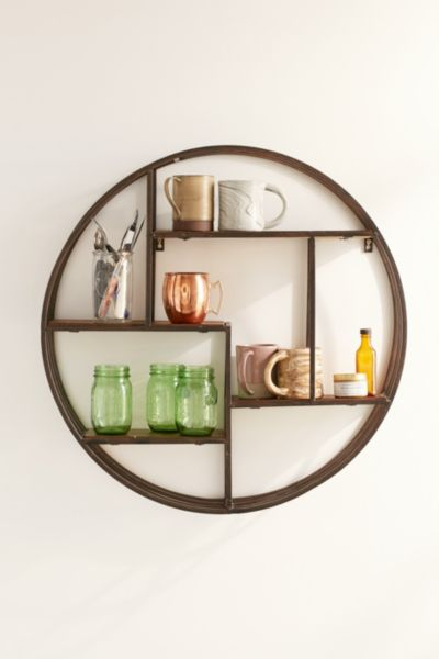 4040 Locust Wooden Circle Wall Shelf Urban Outfitters