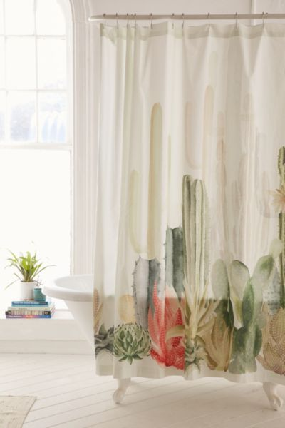 Cactus Landscape Shower Curtain Urban Outfitters