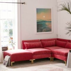 Pink Sofas Click And Clack Sofa Bed Couches Loveseats Settees More Urban Outfitters Cecilia Ruched Velvet Sectional