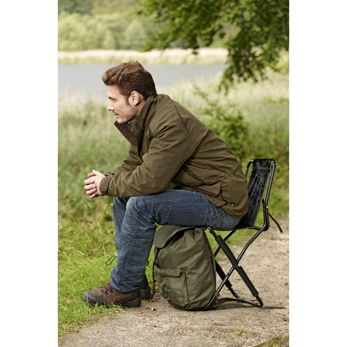 fishing chair rucksack chairs covers for sale seeland with back rest uttings co uk image of