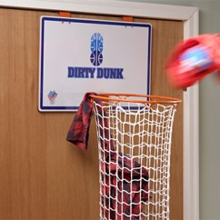 Clean The Kitchen Games Best New Gadgets Dirty Dunk: Over-the-door Basketball Hoop Laundry Hamper.
