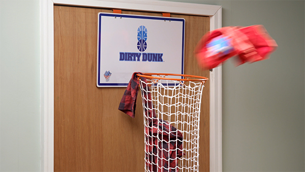 fun kitchen gadgets tall square table the dirty dunk: over-the-door basketball hoop laundry hamper.