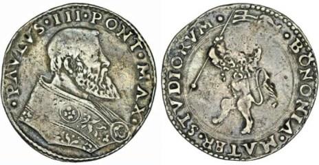World Coins - Italian Papal States. Bologna. Pope Paul III -Alessandro Farnese- (1534-1549). AR Bianco ND. AVF