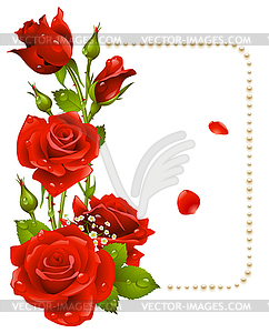 Red rose and pearls frame  royaltyfree vector clipart
