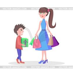 Family Shopping Cartoon Flat Concept vector clipart