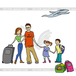 Happy Family With Summer Trip Vacations Holiday Vector Clip Art