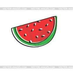 Colored watermelon slice in Doodle style drawing vector image