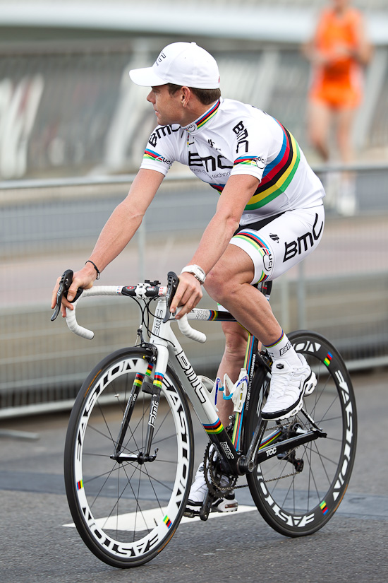 Cadel Evans stares off into the distance