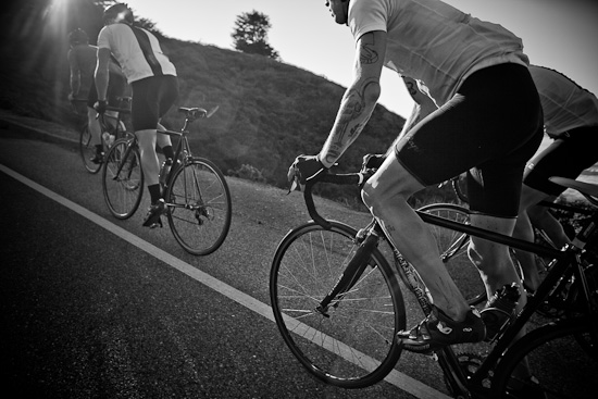 Continental Riders push up and over another roller on Highway 1