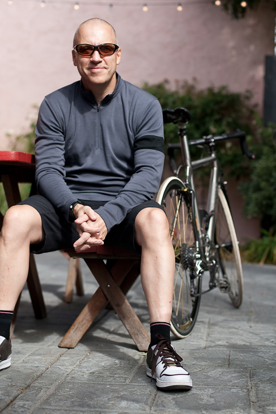 Waiting for breakfast in Rapha's Merino Jersey and Touring Shorts