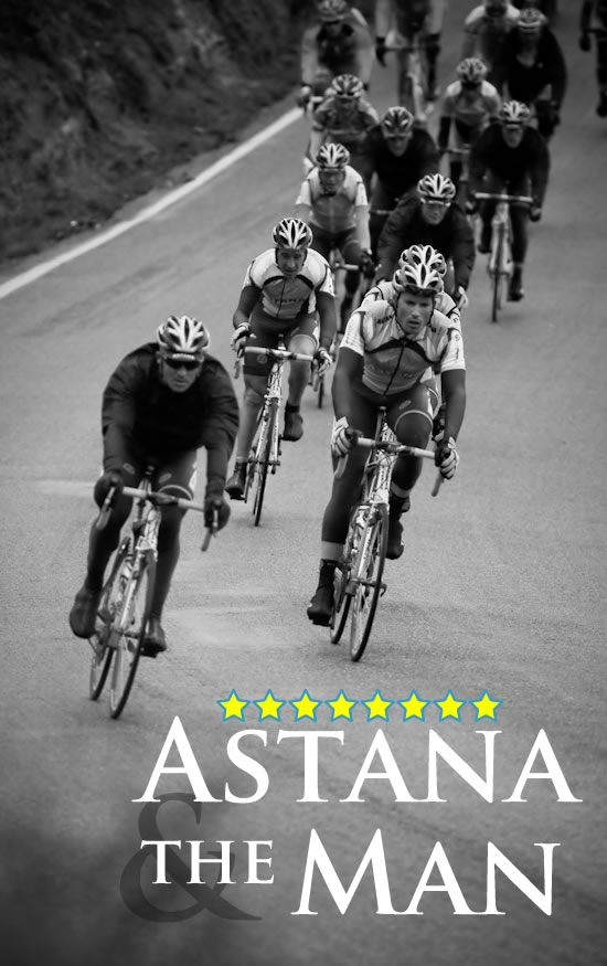 The entire Astana team leads the peloton over Patterson Pass