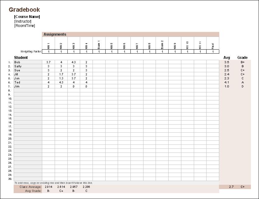 free excel gradebook template