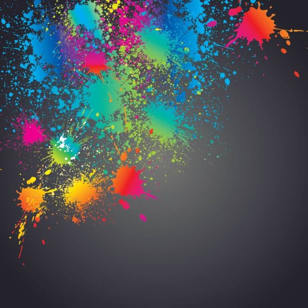Colorful Splashed Paint Splatter Background - Vector