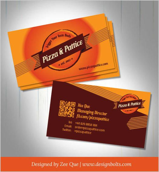 Pizza Amp Pattice Fast Food Business Card Vector Download