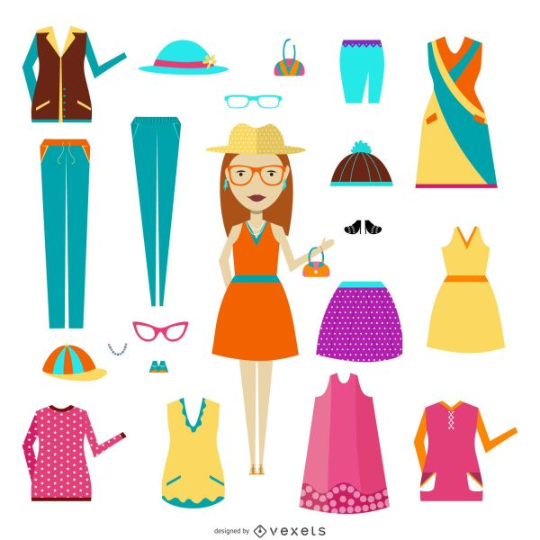 Woman With Clothing Items - Vector
