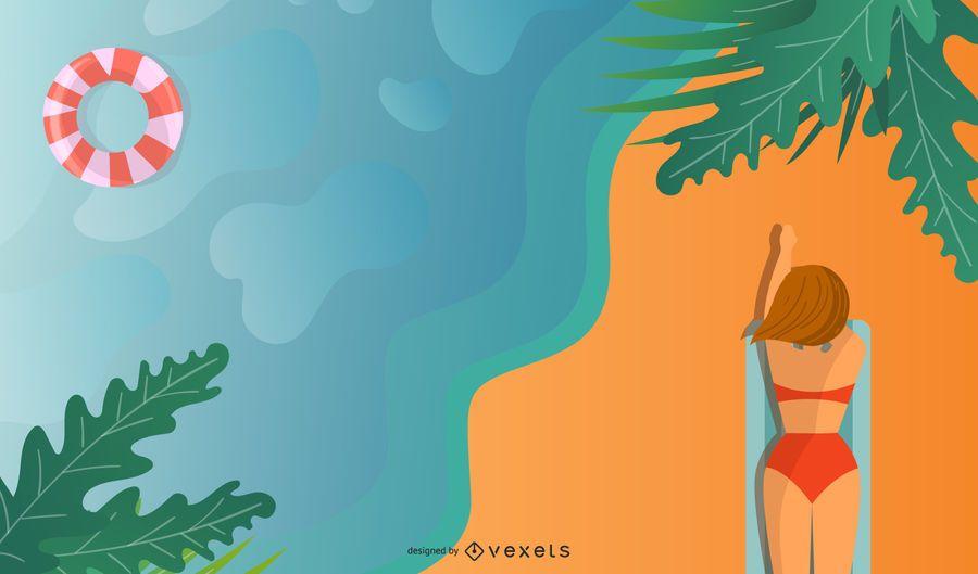 Summer Vacation Background Vector Vector Download