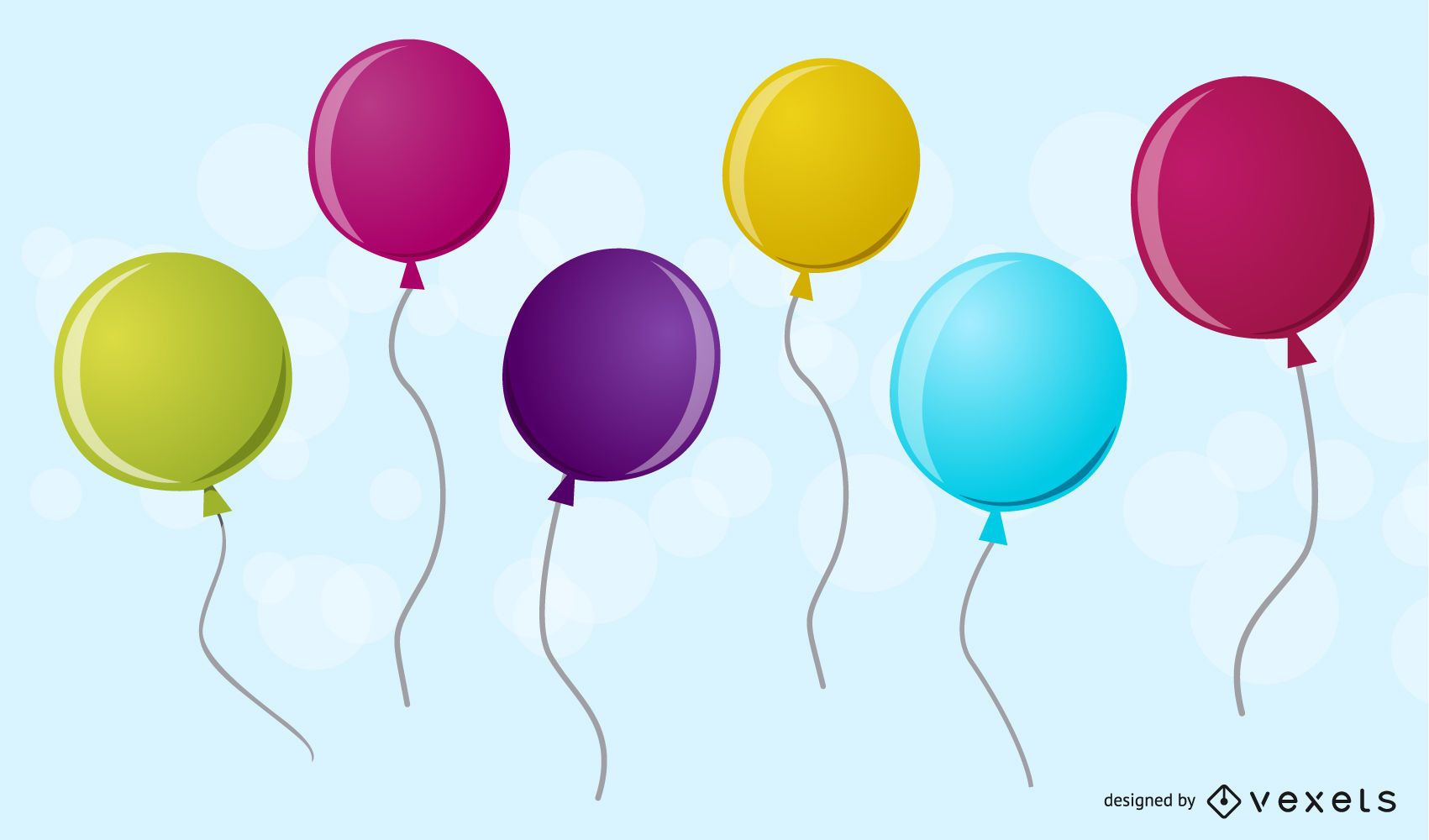 six 3d balloons vector