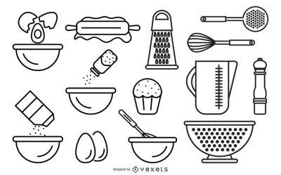 cocina utensilios dibujo vector utensils lineal alimentos vectores kitchen drawing line vectorified vexels