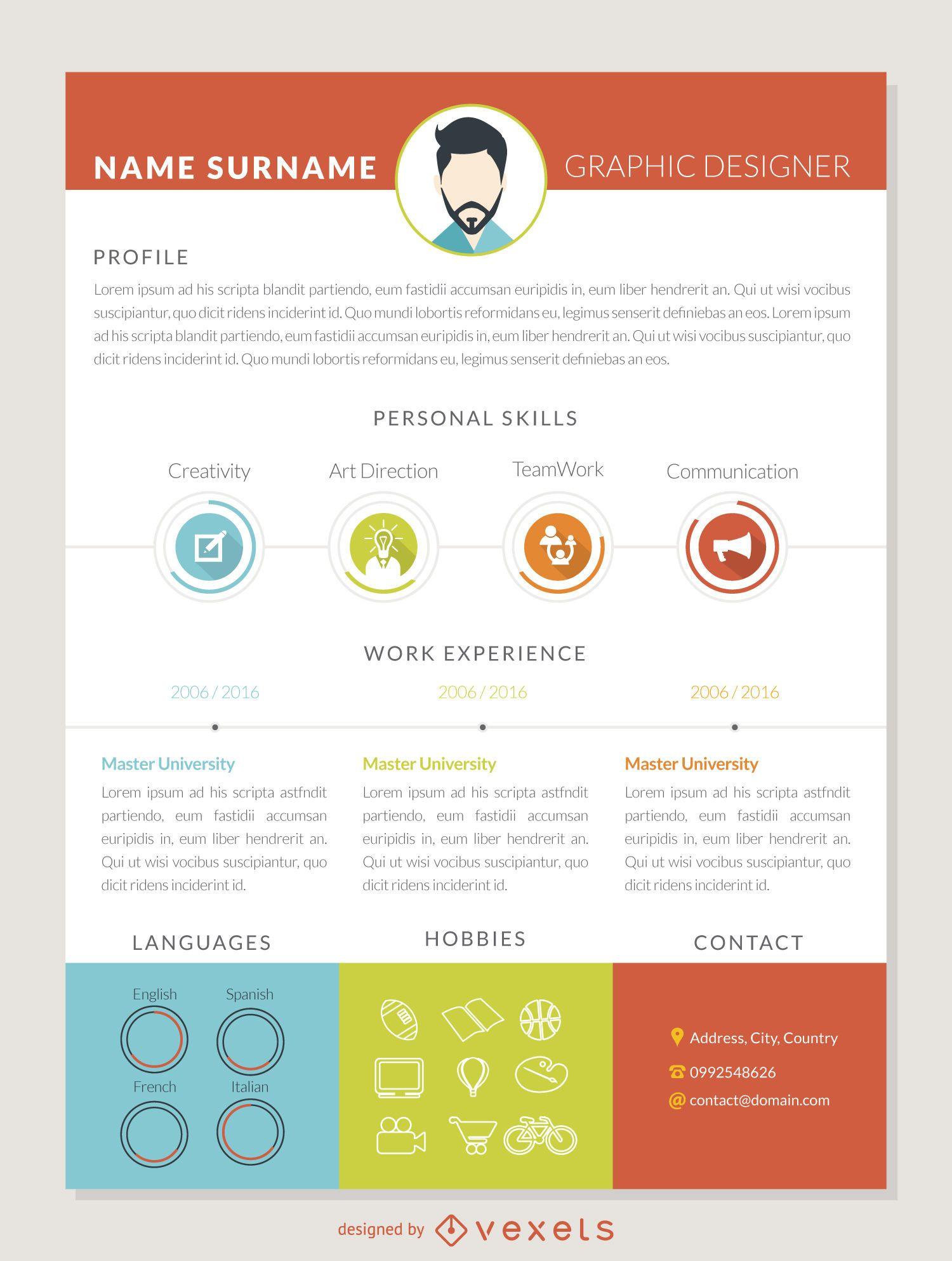 Graphic Designer Curriculum Mockup Template Vector Download