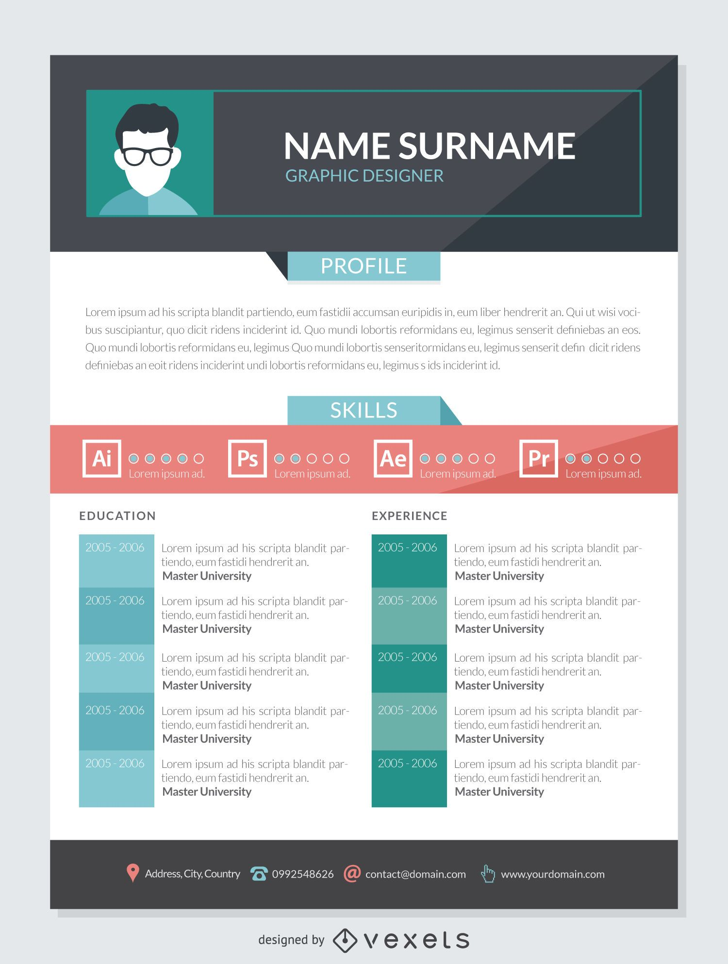 Graphic Designer CV Mockup Template Vector Download