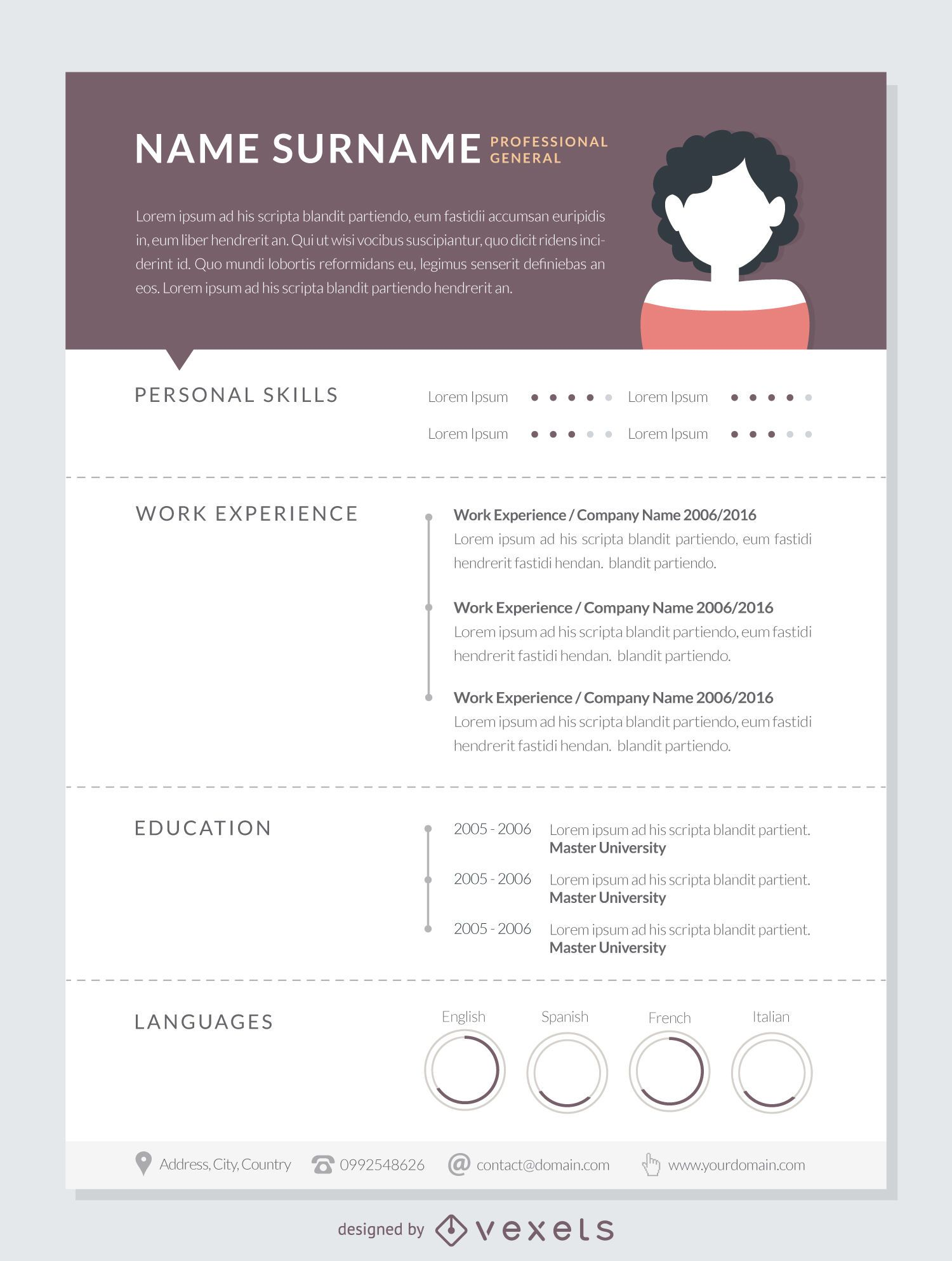 Professional Curriculum Mockup Template Vector Download