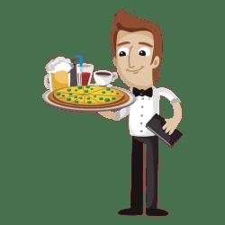 waiter cartoon funny food serving transparent cartoons file pic vector svg clipart restaurant pizza vexels minion clip label purepng drink