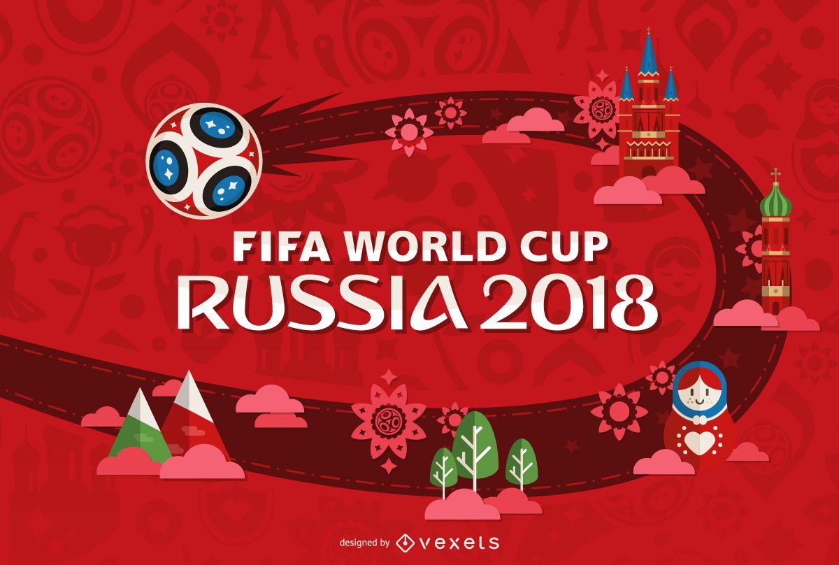 Russia Copa Do Mundo Design Em Vermelho