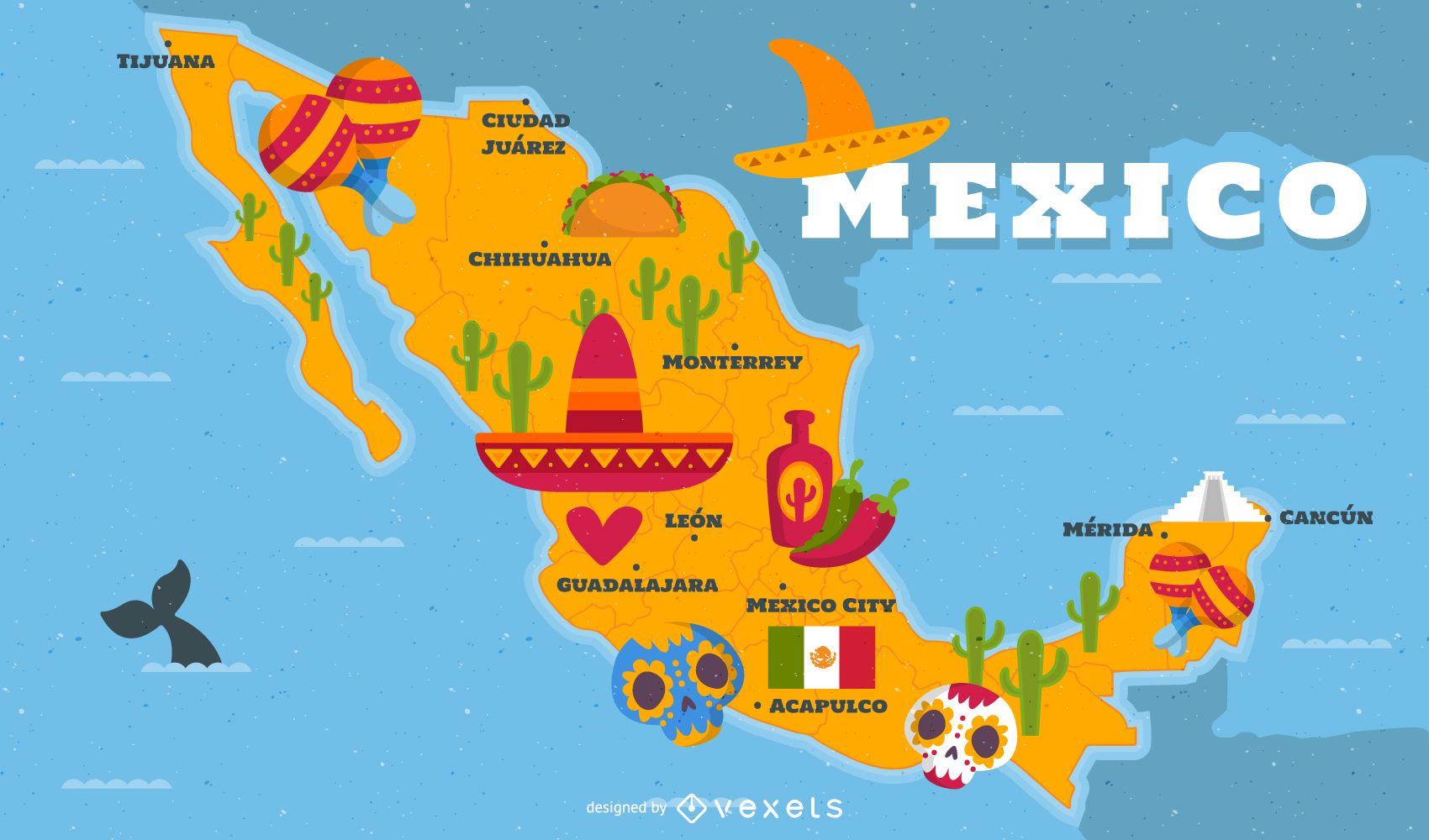 Illustrated Mexico Map With Traditional Elements