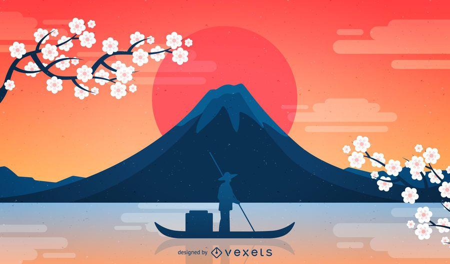 Japan Fuji Background  Vector download
