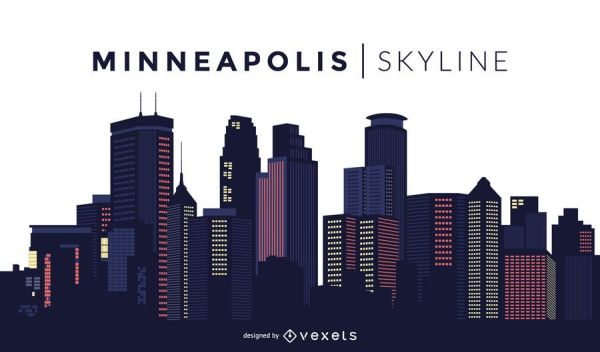 Minneapolis skyline design Vector download