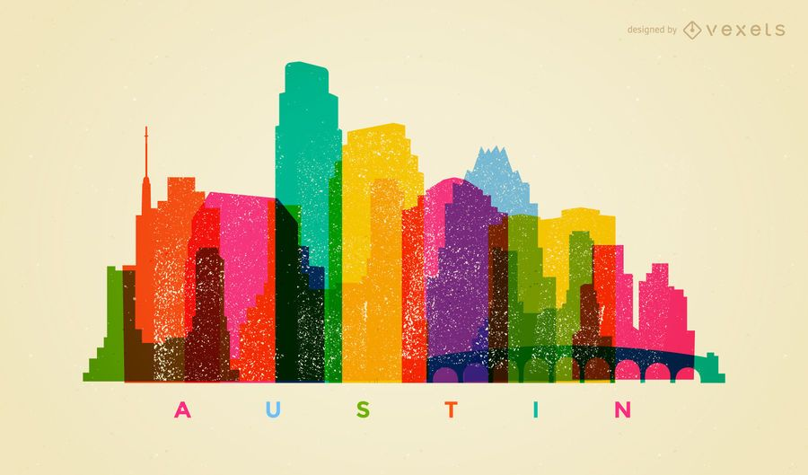 Colorful Austin Skyline Vector Download