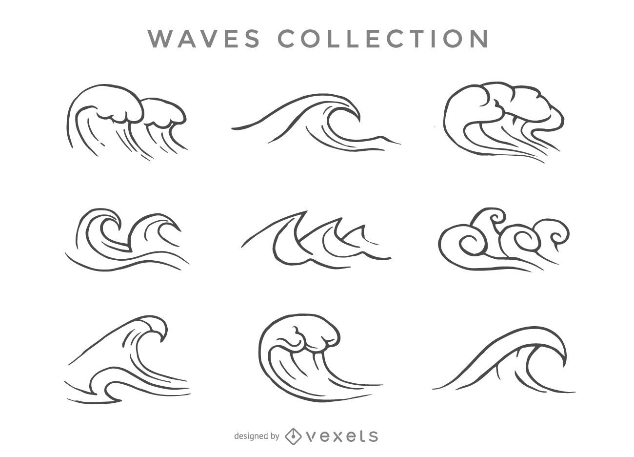 Set Of Illustrated Waves