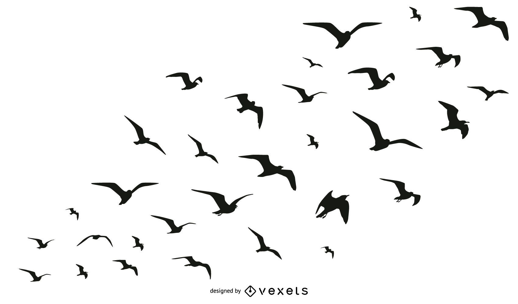 Birds Flock Silhouette Collection