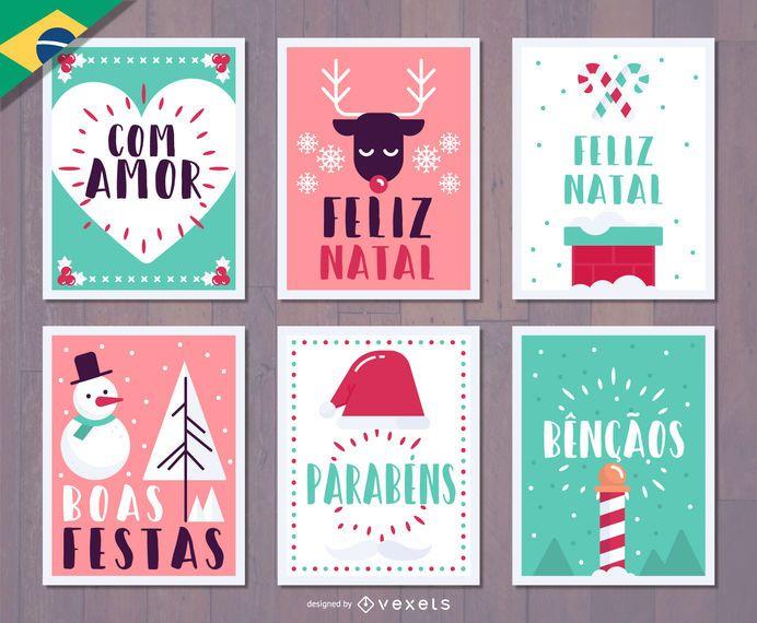 Portuguese Christmas Feliz Natal Card Vector Download