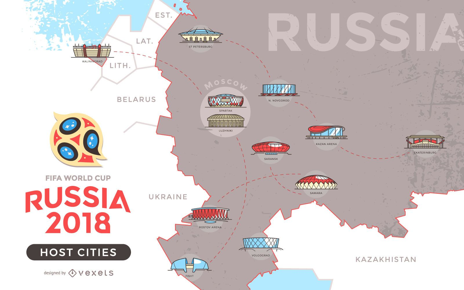 Russia Host Cities Map