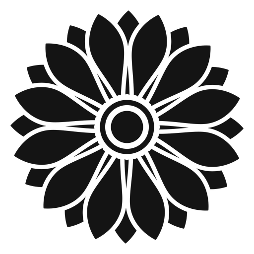 flat grey sunflower head illustration