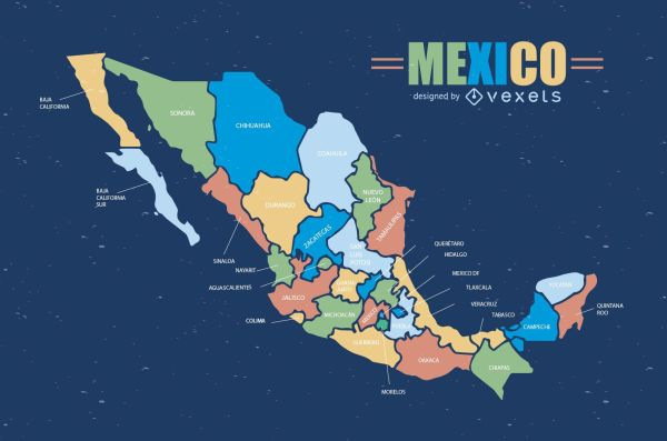 Colorful Mexico map Vector download